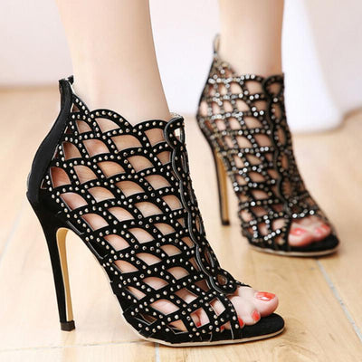 Black Rhinestone Peep-Toe high Heels Single Sandals