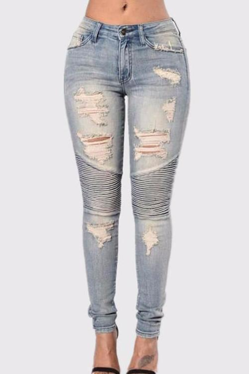 Bleached Piped Skinny Jeans