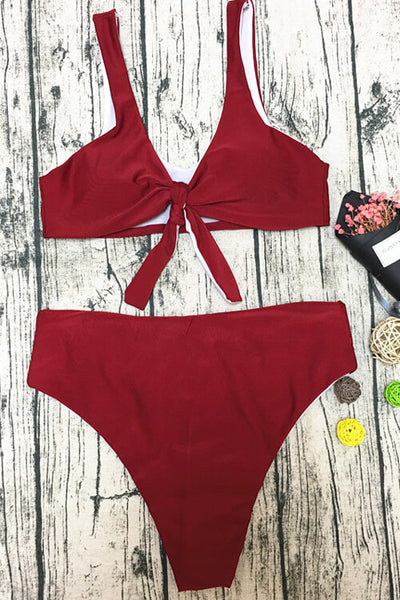 Bow Front Cut Out One Piece Swimsuit