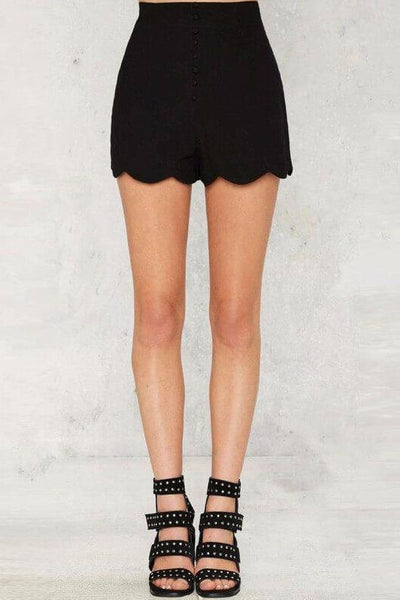 Button Through Scalloped Shorts