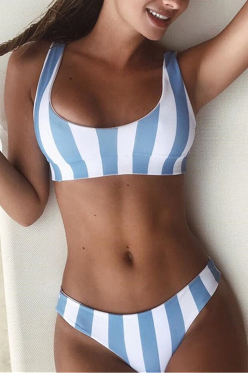 98c6661c8f Caged Striped Bikini Set - ICONHUNT
