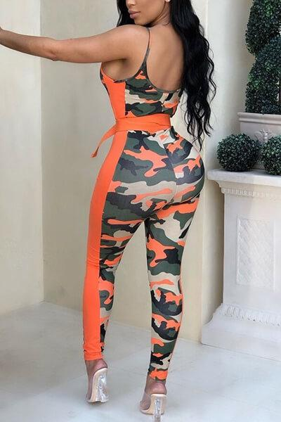 Camo Print Belted Strap Jumpsuit
