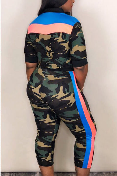 Camouflage Bra Hooded Collar Zipper Top and Pants 3pcs