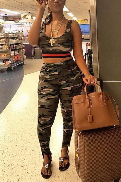 Camouflage Vest Top and Pants