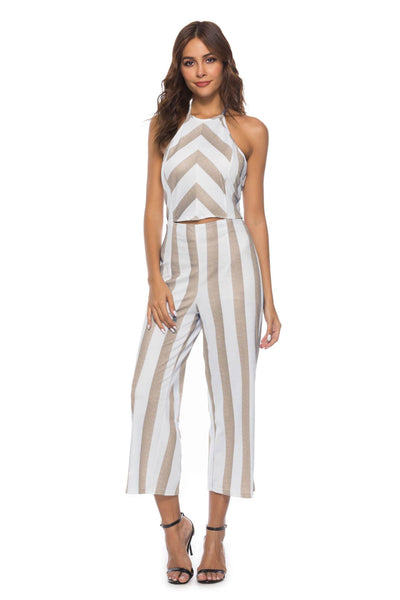 Casual Hollow Out Striped Halter Jumpsuit