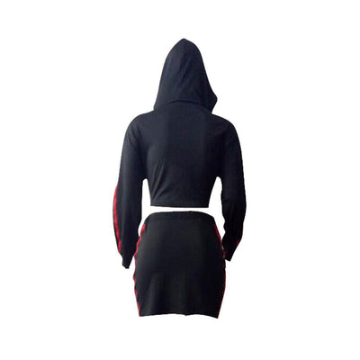 Casual Long Sleeve Hooded Top and Skirt Set