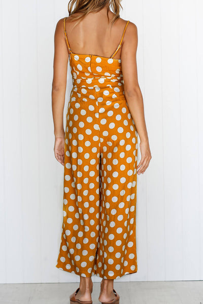 Casual Pockets Polka Dot Jumpsuits