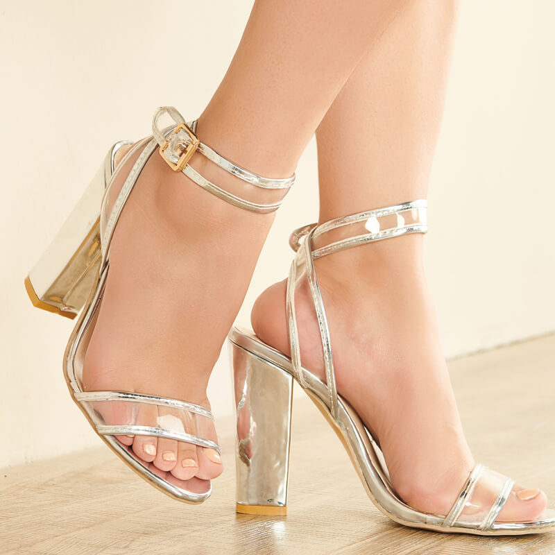 Casual Thick Heels Transparent Sandals
