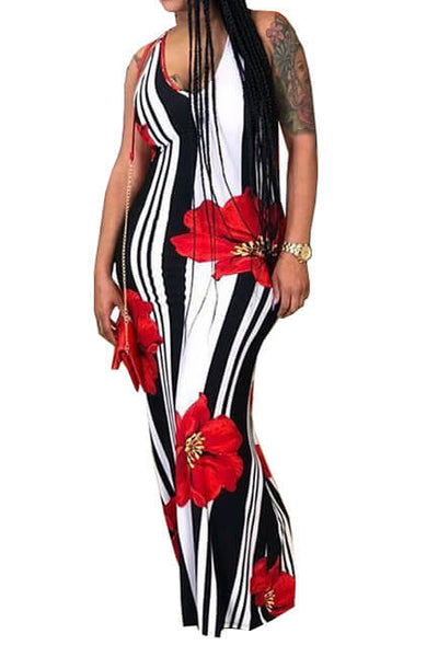 Casual U Neck Striped+Floral Printed Floor Length Dress