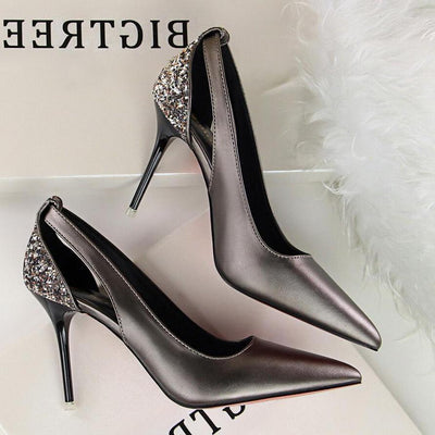 Casual Women Solid Hollow out Pointed Toe Thick High Heel