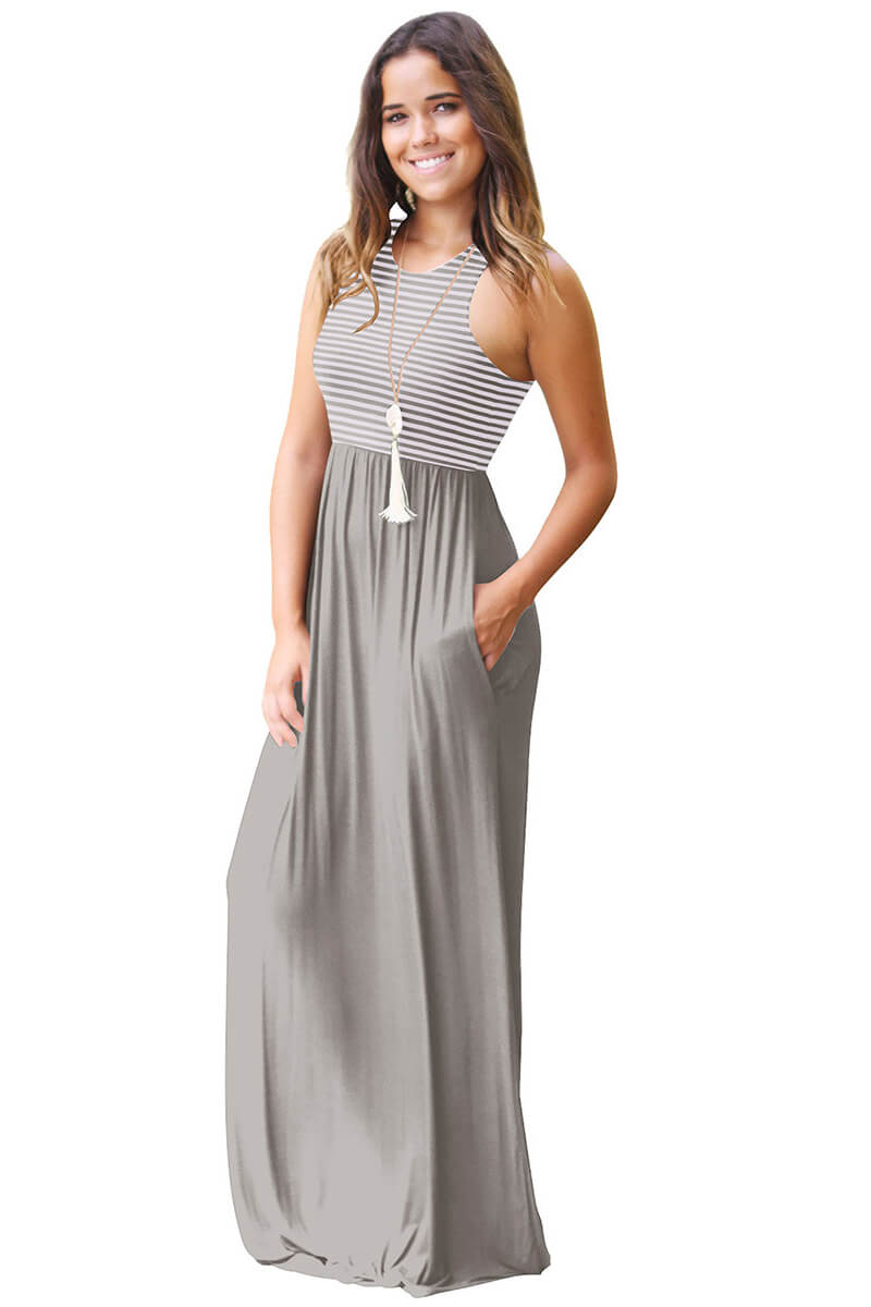Casually Cool Sleeveless Stripe Pleated Maxi Dress