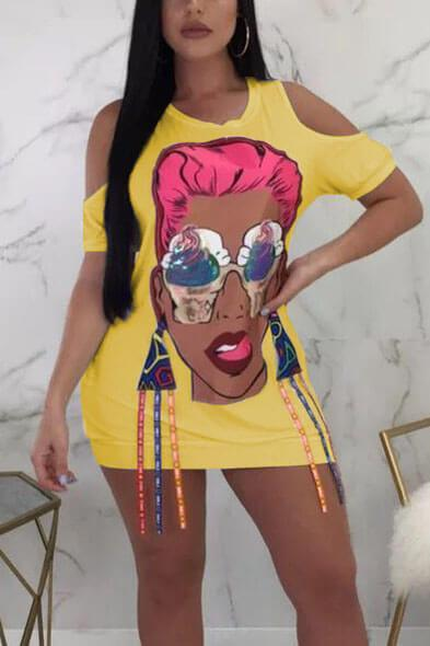 Character Cartoon Printed Colorful Stripes Cut Out One-Piece Tee Dress