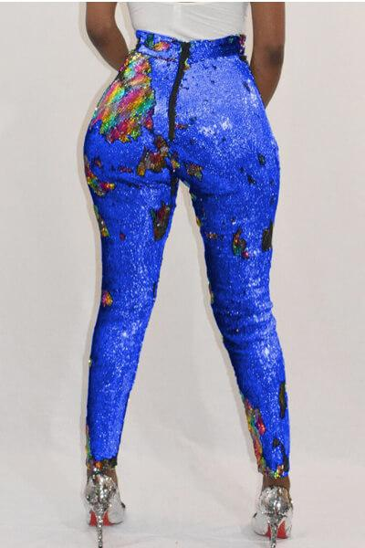 Chic-Sequined-Decorative-Skinny-PU-Pants