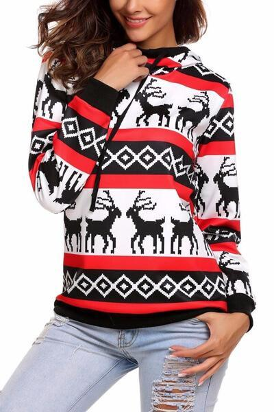 Christmas Elk Long Sleeve Hooded Sweatshirt