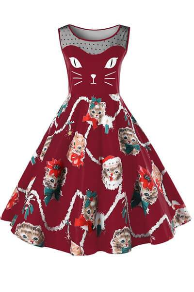 Christmas Kitten Pattern Swing Dress
