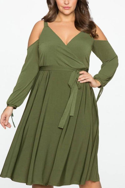 Cold Shoulder Tied Dress