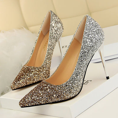Color Gradient Sequins Pointed Toe High Heel Pumps