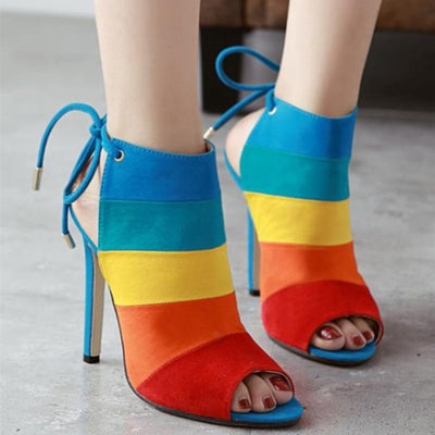 Colorblock colorful sexy open-toe sandals