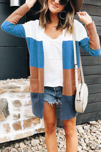 Colored-Striped-Knitted-Cardigan