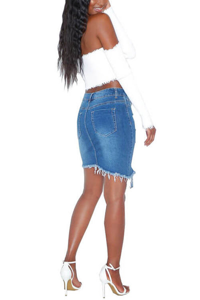 Cotton Irregular Hole Tassel Skinny Skirt