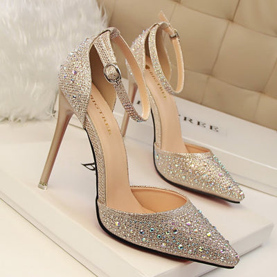 Crystal Ankle Strap Closed Toe Pointed Toe Heeled Sandals