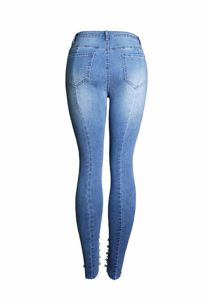 Denim Blue Skinny Beaded Pencil Jeans