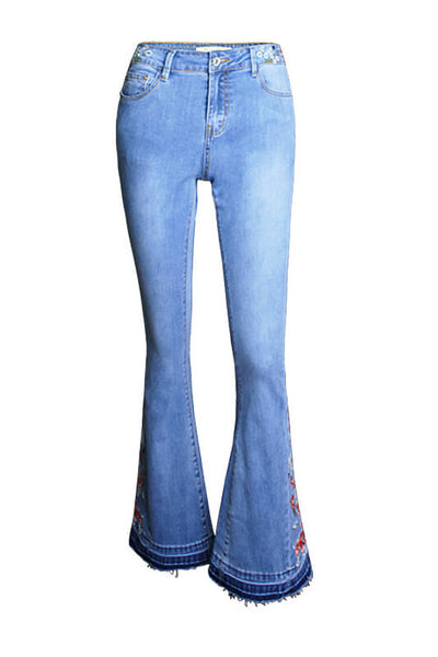 Denim High Street Push Up Embroidery Pattern Jeans