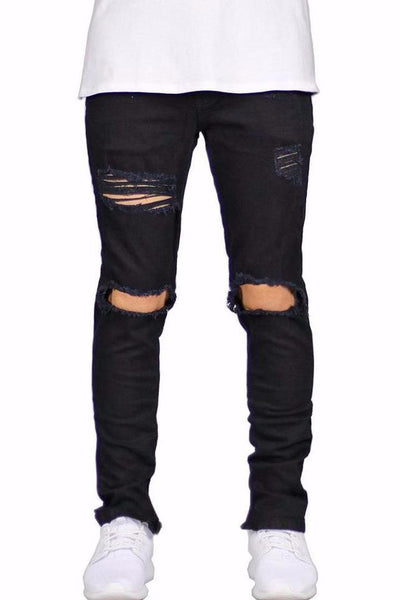 Medium Rise Ripped Jeans - BLACK