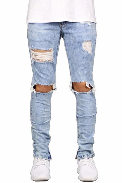 Medium Rise Ripped Jeans - BLUE