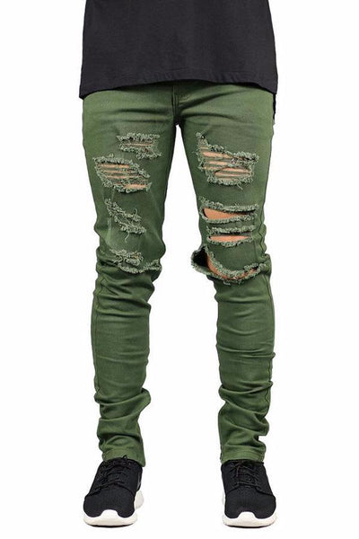 Ripped Zipper Jeans - ARMY GREEN