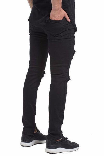 Ripped Zipper Jeans - BLACK