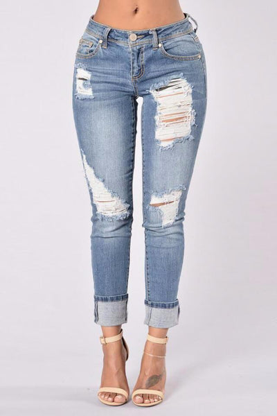 Distress Frayed Boyfriend Jeans