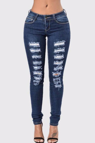 Distress Ripped Skinny Jeans