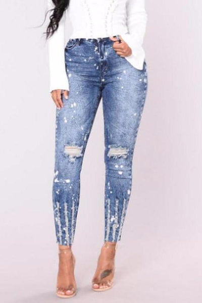Distress Washed Skinny Jeans