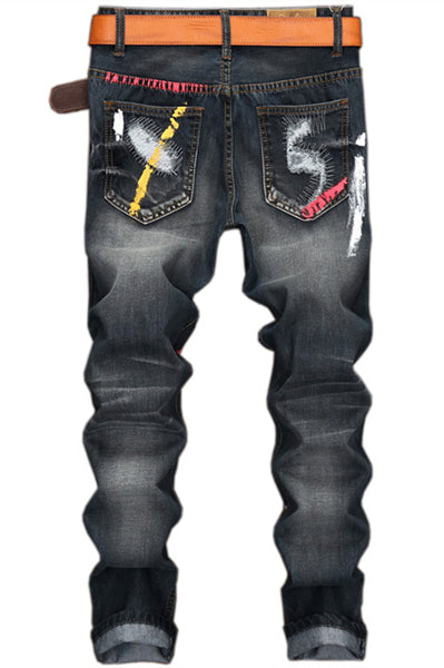 Distressed Straight Graffiti Ripped Jeans