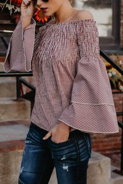 Dolly Gingham Bell Sleeve Top
