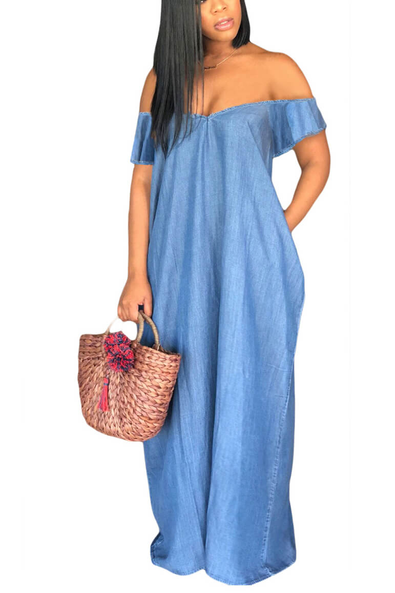 Draped Pockets Spaghetti Strap V-neck Casual Denim Maxi Dress
