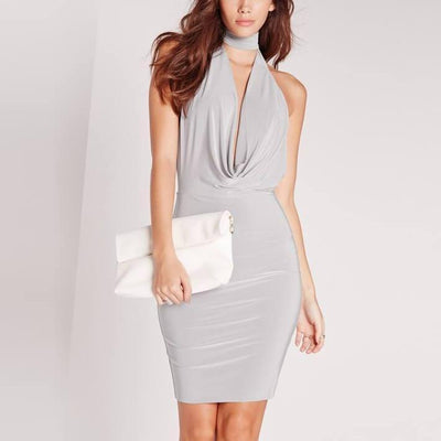 Elegant Bodycon High Waist Backless Midi Dress