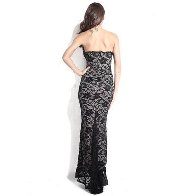 Elegant Fashion Deep V Lace Party Backless Dress