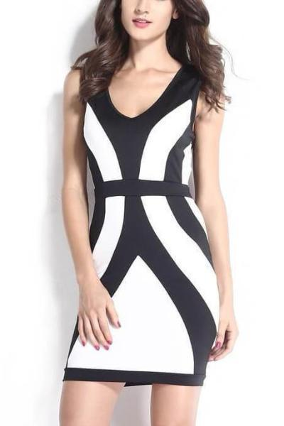 Elegant Fashion Deep V Party Backless Mini Dress