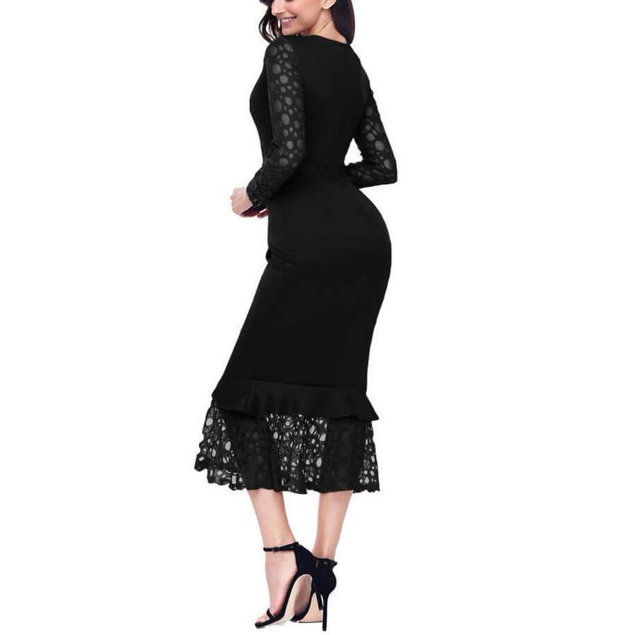 Elegant Lace Party Long Sleeve Maxi Dress