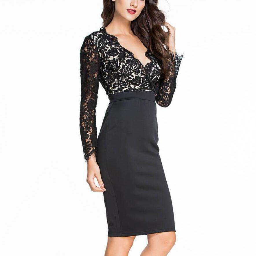 Elegant Office Deep V Party Lace Sexy Dress