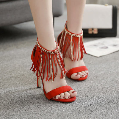 Elegant Tassel Chain High Heel Sandals