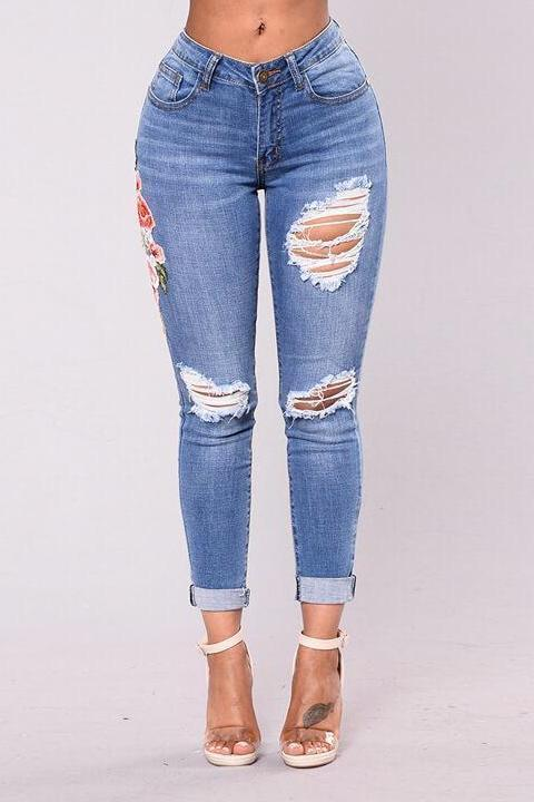Embroidered Ripped Low Rise Jeans