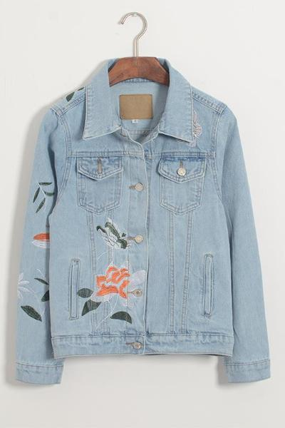 Embroidery Long Sleeve Washed Denim Jacket