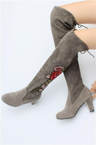 Embroidery High Heeled Knee High Boots