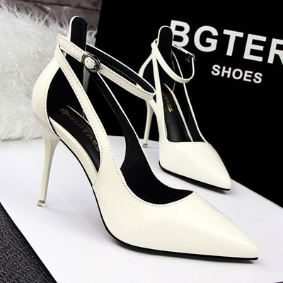 Fashion Pointed Toe Ankle Strap Cut out High Heels