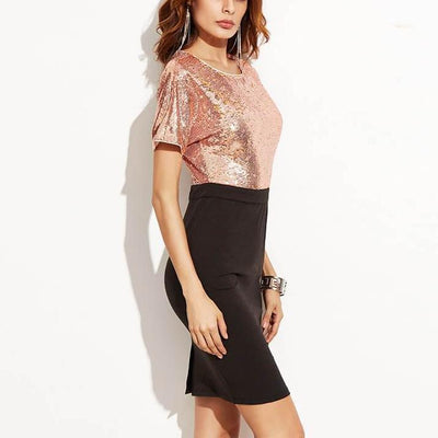 Fashion Sequin Patchwork Dress