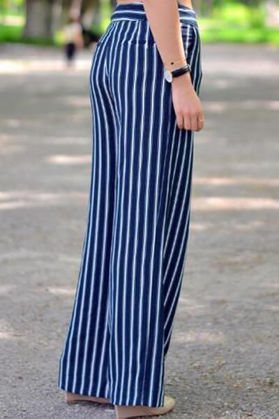 Fashion striped wide-leg pants t-shirt 2Pcs suit