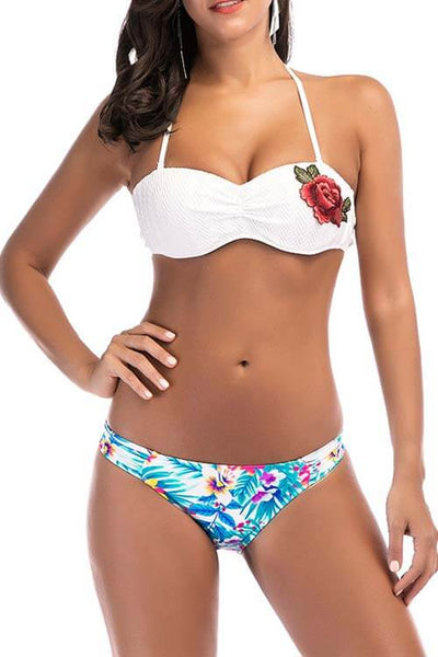 Floral Embroidered Bikini Set